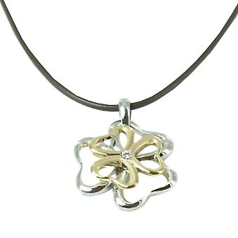 Skagen ladies chain necklace leather flower stainless steel gold silver JNG0019