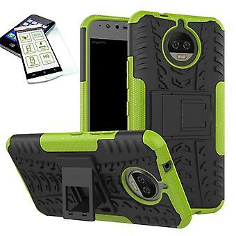 Híbrido caso 2 pedaço verde para Motorola Moto G5S + vidro temperado bolsa capa case
