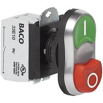 BACO L61QB21A Double head pushbutton Front ring (PVC), chrome-plated Green, Red 1 pc(s)