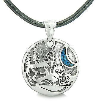 Enhed Amulet Howling Wolf familie vilde månen beføjelser mand lavet turkis Chips vedhæng halskæde