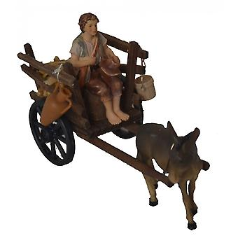 Donkey with wood cart and Shepherd for Nativity stable Nativity accessories