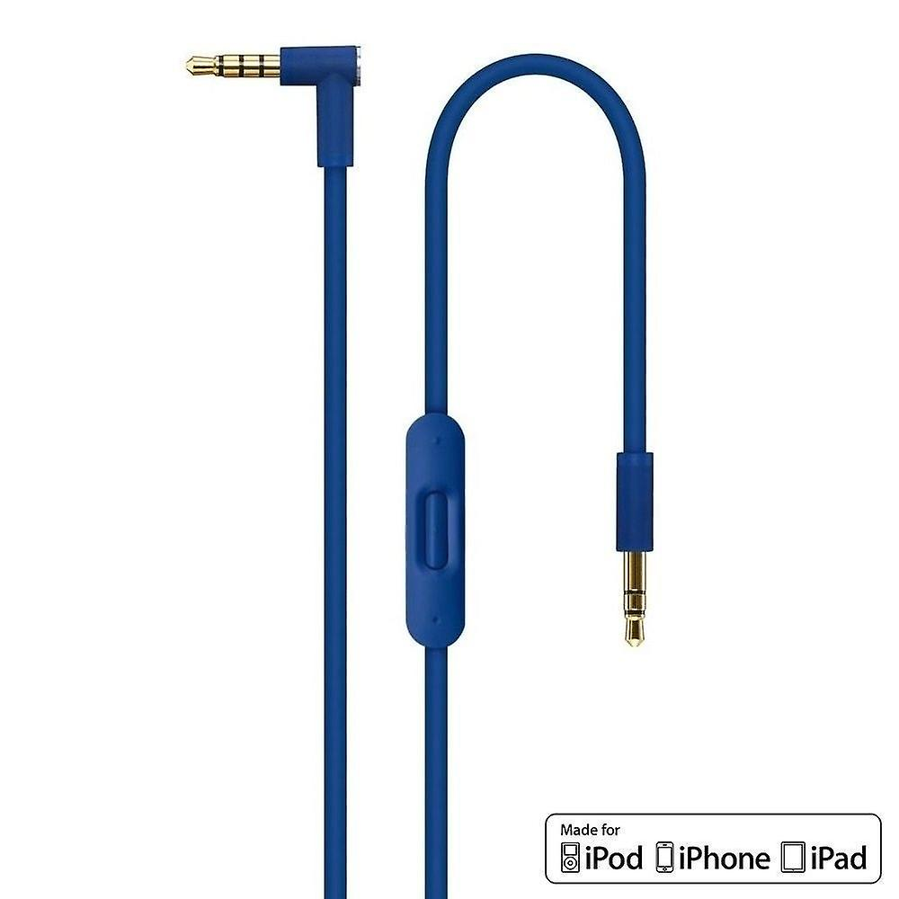 REYTID Blue Audio Cable Compatible with Beats by Dr Dre Solo2 / Solo2 Wireless Headphones with Inline Remote, Volume Control and Microphone - Compatible iPhone & Android