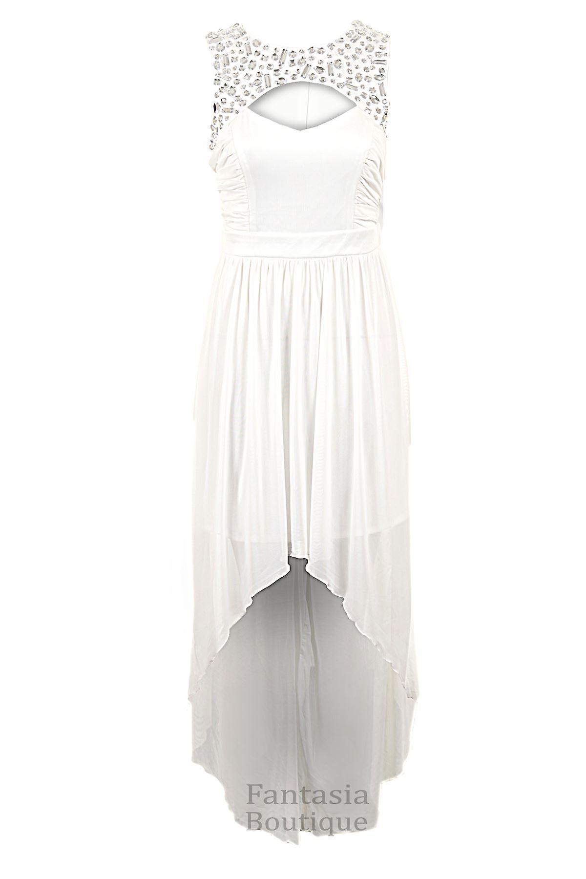 Hyvät Diamante leikattu edessä kerätty korkea matala pitkä Maxi heittelehtiä naisten mekko