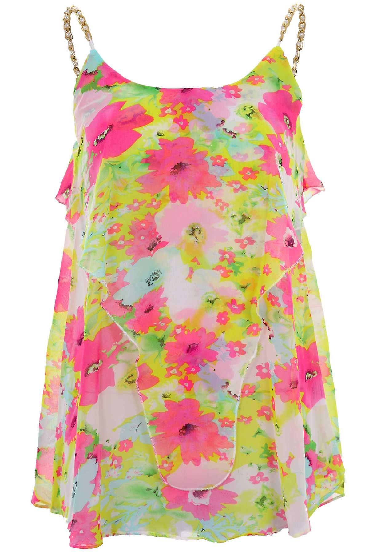 Ladies Chain Pearl Strap Chiffon Frill Layered Floral Print Party Women's Vest Top