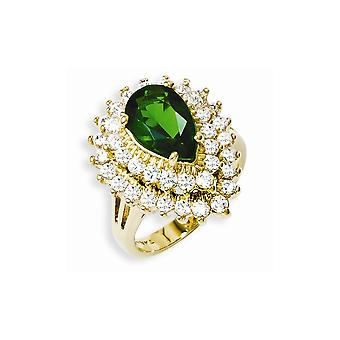 Kennedy 14k Gold Plated Crystal and CZ Cocktail Ring About 0.75 Inch Wide Jewelry Gifts for Women - Ring Size: 7 to 10