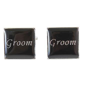 Knightsbridge Neckwear The Groom Cufflinks - Black/Silver