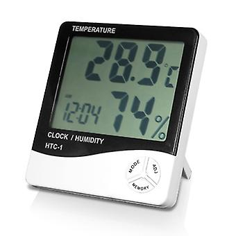 DIGIFLEX Digital LCD Temperature and Humidity Meter Clock Alarm