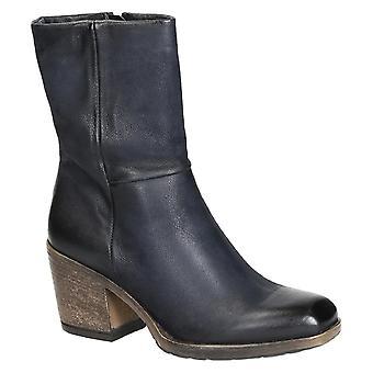 Mitte der Wade-westlichen Heel-Stiefel in blau italienisches Leder