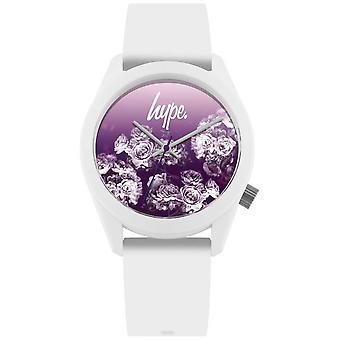 Hype | Witte siliconen band | Paarse bloem Dial | HYU010WV Watch