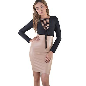 LMS Nude Leather Look Dress With Contrast Long Sleeve Top