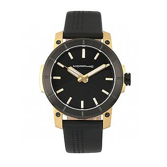 Morphic M54 Series Leather-Band Chronograph Watch - Gold/Black