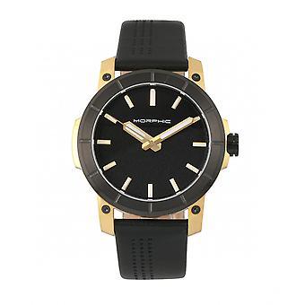 M54 mórficos serie banda de cuero cronógrafo reloj - oro/negro