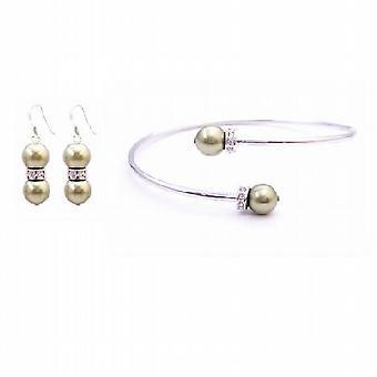 Bruiloft olivijn Dress sieraden w / olivijn Swarovski parels & oorbellen