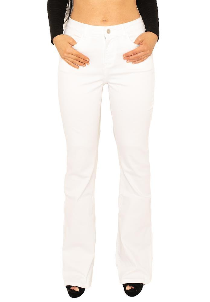 Womens Mid Rise Stretch Denim Flared Bootcut Jeans