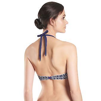 Aubade NU06 Women's Coconut Groove Marin Navy Blue Geometric Swimwear Bandeau Bikini Top