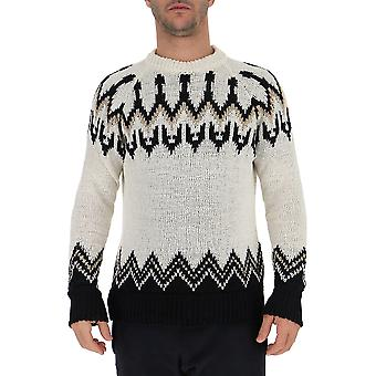 Laneus Mgu549171 Men's White/black Cotton Sweatshirt