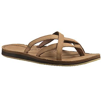 Teva Womens Olowahu Leather Criss Cross Summer Slide Sandals