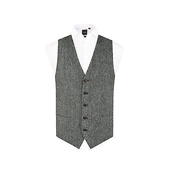 Skotsk Harris Tweed Herre sort/grå sildeben Tweedveste Regular fit
