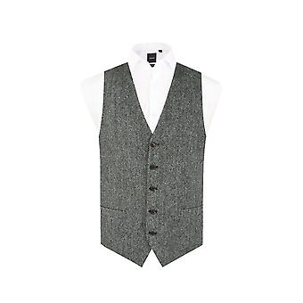 Scottish Harris Tweed Mens Czarny/Szary Jodełka Tweed Kamizelka Regular Fit