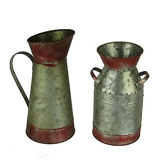 Red and Galvanized Decorative Vintage Metal Milk Jug and Pitcher Set