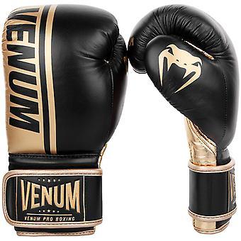 Venum Shield Pro gancio & Loop in pelle guantoni da boxe-nero/oro