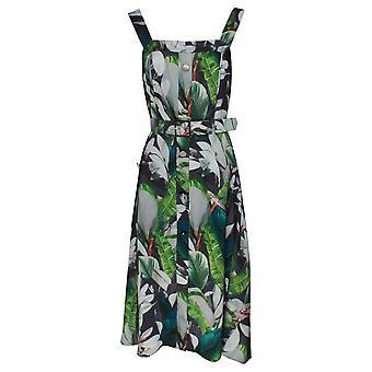 Marie Mero Botanical Sleeveless Belted Shirt Dress
