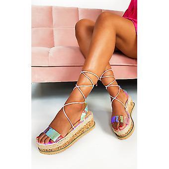 IKRUSH Womens Mel irisierende Flatform Sandalen