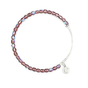 Alex and Ani Amethyst Rock Candy Beaded Silver Bangle BBEB178S