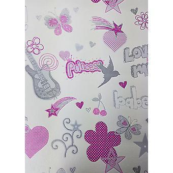 Chicas aman corazones estrellas mariposas flores papel pintado rosa blanco gris brillo