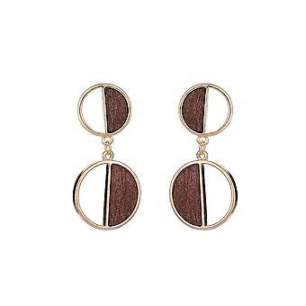 Jewelcity Sunkissed Womens/Ladies Double Disc Wood Geo Earrings