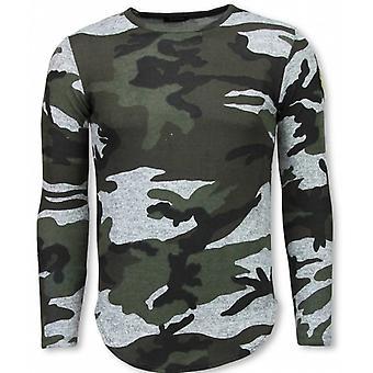 Army Print Embroidery Shirt-Long Sleeve T-shirt-Grey