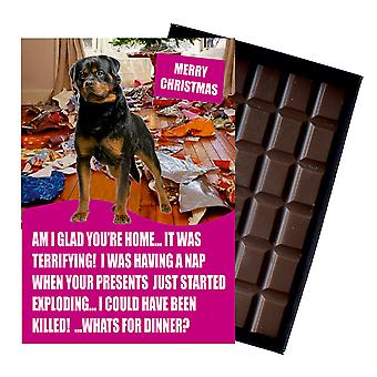 Rotweiler lustige Weihnachtsgeschenk für Hund Liebhaber Boxed Schokolade Grußkarte Xmas Geschenk