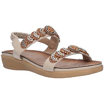 Fleet & Foster Womens Java Elasticated Sandal Beige