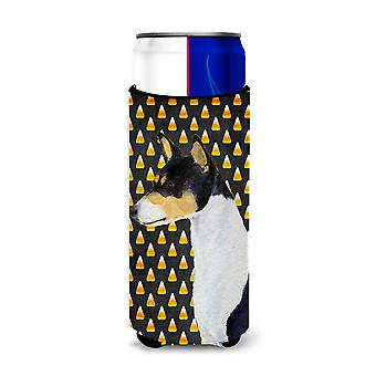 Basenji Candy Corn Halloween Portrait Ultra Beverage Insulators for slim cans SS