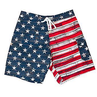 USA Men's Patriotic Faded American Flag Board Shorts