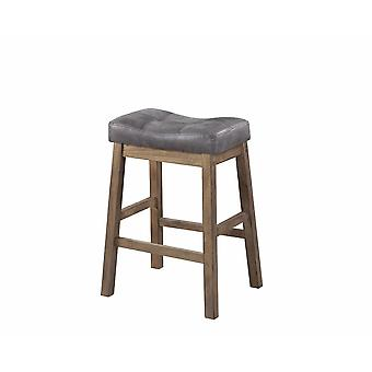 Wooden rustic backless counter height stool, gray & brown, set of 2