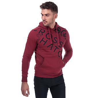 Mens Crosshatch Black Label Lapout Logo Hoody In Red- Ribbed Cuffs And Hem-
