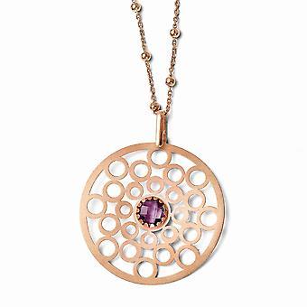 925 שטרלינג סאטן ורוז 14k מצופה זהב עם אחלמה שרשרת תכשיטים מתנות לנשים