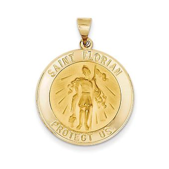 14k Yellow Gold Hollow Polished and Satin St. Florian Medal Pendant Necklace Jewelry Gifts for Women