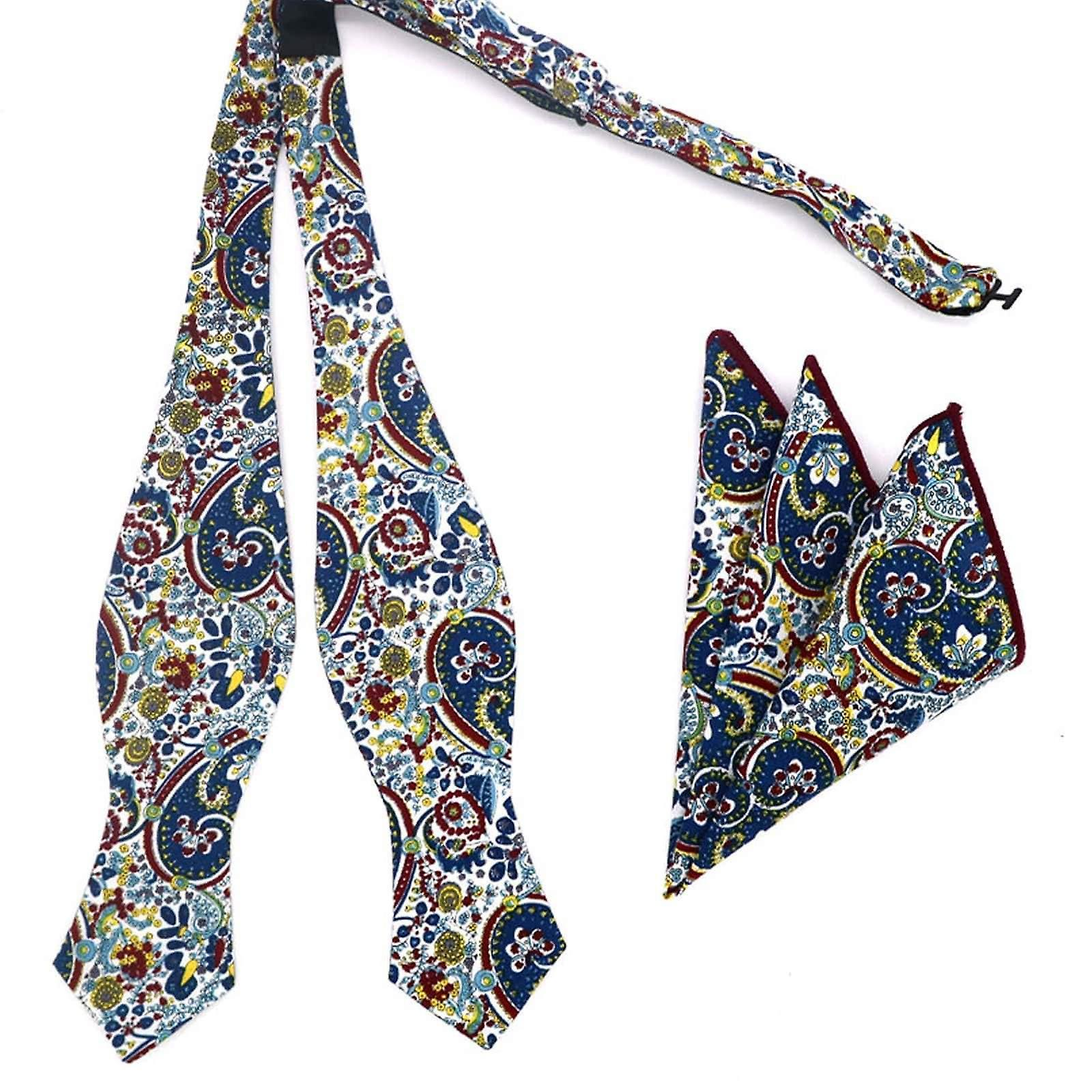 Red blue & yellow paisley self tied bow tie & hanky set