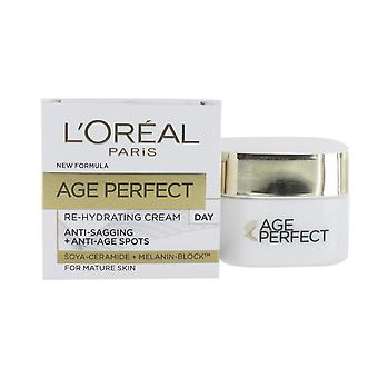 L'Oreal Age Perfect Re-Hydrating Day Cream 50ml - Anti-Sagging, Anti-Spots for Mature Skin (Soya Peptides + Melanin Block)