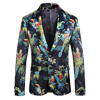 Allthemen Men's Slim Fit Printed Beach Casual Suit Jacket Blazer
