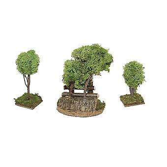 3 tlg. Tree group with fence 11, 16 and 20 cm for Christmas nativity scene nativity scene nativity accessories