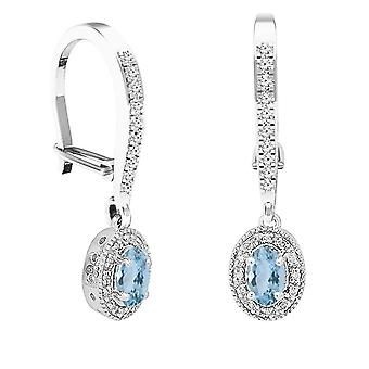 Dazzlingrock Collection 10K 6X4 MM Each Oval Aquamarine & Round Diamond Women's Halo Dangling Drop Earrings, White Gold