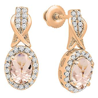 Dazzlingrock Collection 10K Each 6X4 MM Oval Morganite & Round White Diamond Ladies Dangling Drop Earrings, Rose Gold