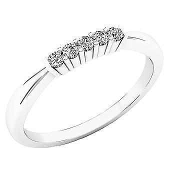 Dazzlingrock Collection 0,10 Carat (CTW) 10K runde diamant damer 5 sten vielses ring band 1/10 CT, hvid guld