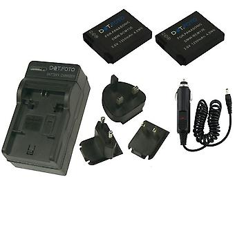 Dot.Foto Panasonic DMW-BCM13 - 3.6v/1250mAh Battery (2-Pack) and Battery Travel Charger