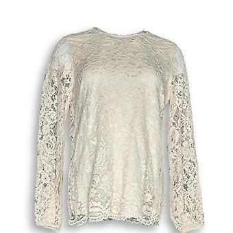 Martha Stewart Femmes apos;s Top Corded Lace Long Sleeve Ivoire A345113