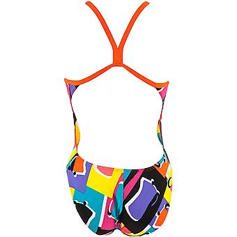 arena Womens Espresso High Back One Piece Swimming Pool Swimsuit Costume - Multi