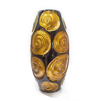 """7.5"""" X 7.5"""" X 14"""" Copper Red and Gold Ceramic Table Vase"""